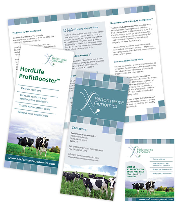Performance Genomics three panel brochure and print ad