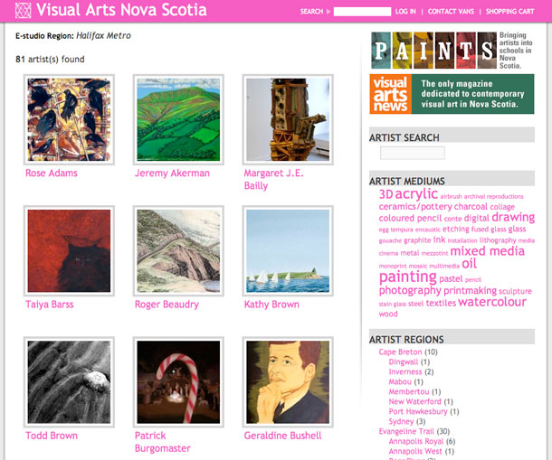 Visual Arts Nova Scotia website screenshot - Artist search