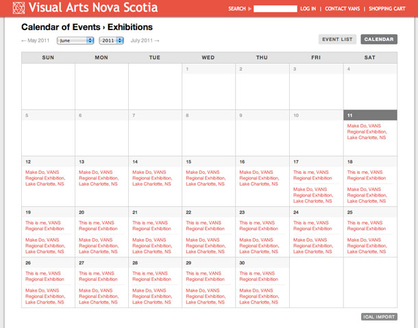Visual Arts Nova Scotia website screenshot - Calendar
