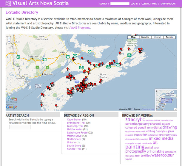 Visual Arts Nova Scotia website screenshot - E-studio