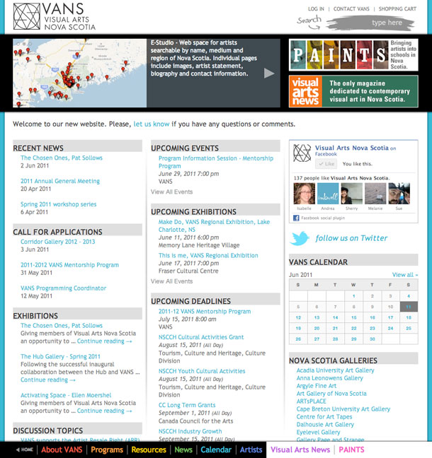 Visual Arts Nova Scotia website screenshot - Front page