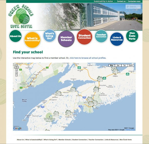 Green Schools Nova Scotia - Member schools map