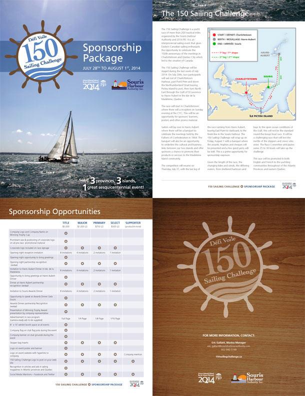A few pages from the 150 Sailing Challenge sponsorship package.