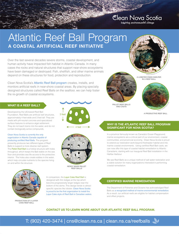 A display panel for Clean Nova Scotia's Atlantic Reef Ball Program